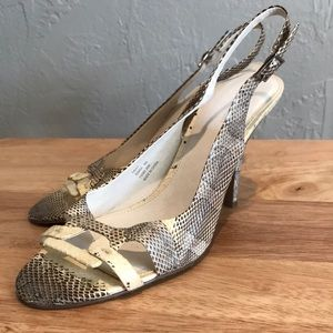 Calvin Klein Size 8 Leather Snake Print Heels